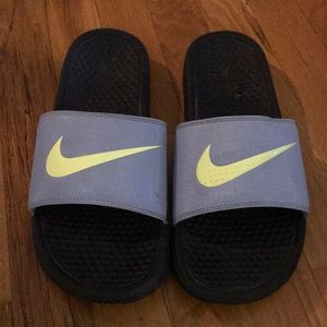 Nike Shoes - Nike Sandal Slides Blue/Yellow Size 9W